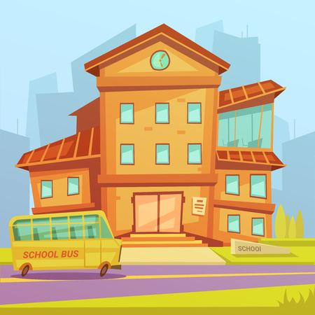Fondo del edificio de la escuela en una ciudad con una ilustración vectorial de dibujos animados autobús escolar