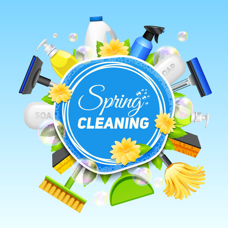 Domestic cleaning: Poster with composition of different tools for cleaning service colored on blue background vector illustration