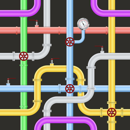 Seamless abstract industrial pipeline pattern on black background with colorful pipes faucets and sensors vector illustration