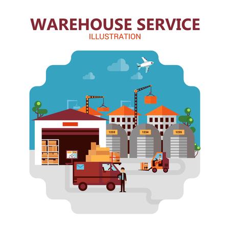 Magazijn dienst poster met toneel van verzending van goederen vector illustratie Vector Illustratie