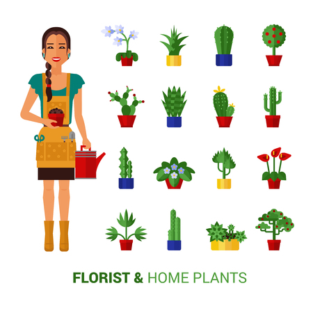 can: Young beautiful florist girl with long braid watering home plants with can flat icons composition abstract vector illustration Illustration