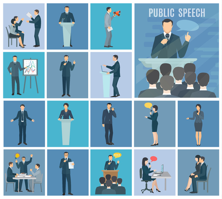Public speaking to live audience workshops and presentations set blue background flat icons set abstract isolated illustration vector