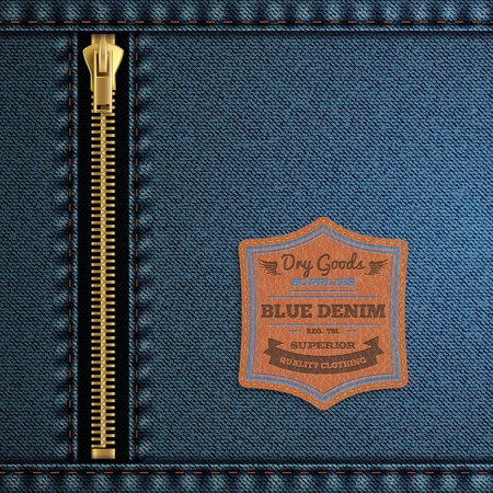 leather goods: Blue denim cloth with zip and label background realistic vector illustration Illustration