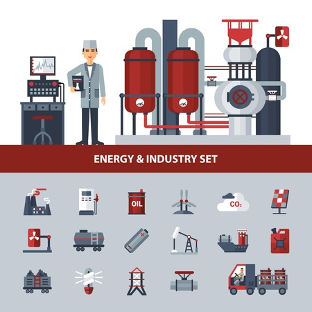power industry: Energy and industry set with icons of different kinds of power isolated vector illustration