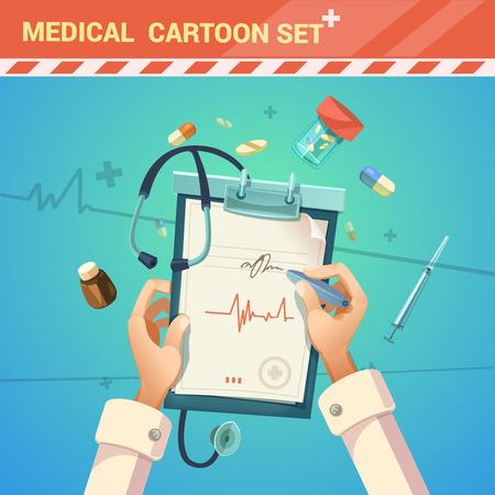 Geneeskunde en de behandeling met de arts het schrijven van een recept cartoon vector illustratie