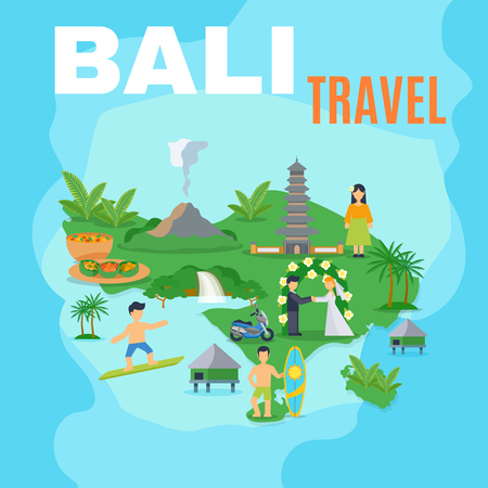 indonesia: Background map Bali travel green island on blue sea with pictures of tourist places vector illustration