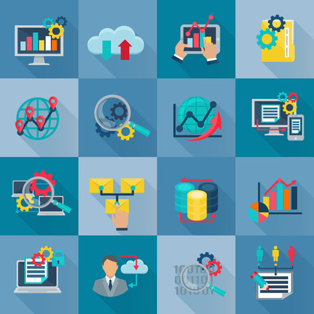 information  isolated: Big data analytics flat icons set with international teamwork information processing and exchange symbols abstract isolated illustration vector