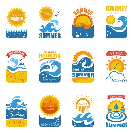 foaming: Summer label set with waves sandy beach  and sun disk flat vector illustration