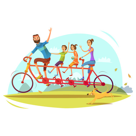 sisters: Family and bicycle cartoon concept with parents son and daughter vector illustration