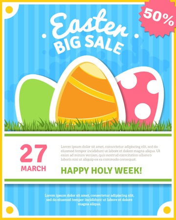 flyer: Easter holiday sale poster with colorful eggs flat vector illustration