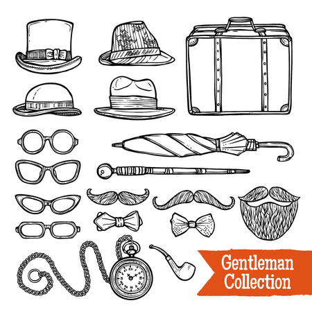 oldfashioned: Old-fashioned gentleman accessories set with hats pipes umbrella and cane doodle style black abstract vector illustration