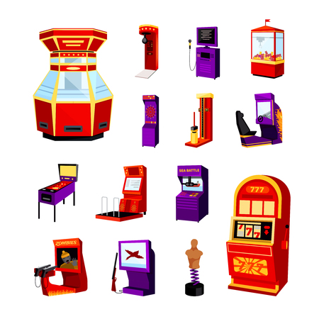 game machine iconen set van jdarts boxer geïsoleerd spider auto simulator boksen oefenpop flipperkast vector illustratie