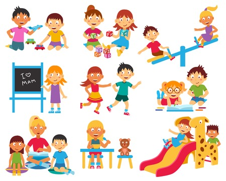 children room: Kindergarten flat icons set with children playing with toys and each other isolated vector illustration
