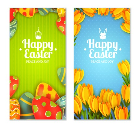 illustraion: Easter vertical banner set with decorated eggs and spring flowers isolated vector illustraion