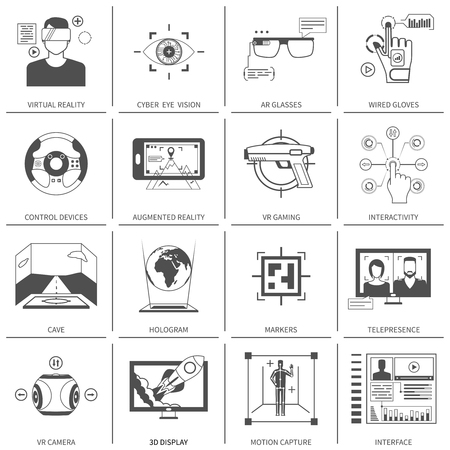 simulation: Black and white flat icons set of technological devices for virtual augmented reality isolated vector illustration Illustration