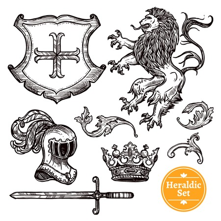 Wappen Symbole schwarz Symbole mit Wappentiere gesetzt und Ritter Waffe doodle Vektor isoliert Illustration