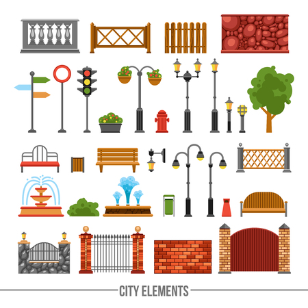 park icon: City park fences gates elements and traffic lights and boards flat icons collection abstract isolated vector illustration