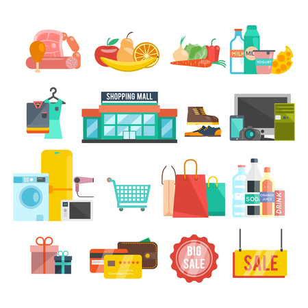 Shopping center flat icons set with food home appiances and goods isolated vector illustration