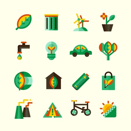 different ways: Ecology icons set with different ways of protection of environment isolated vector illustration
