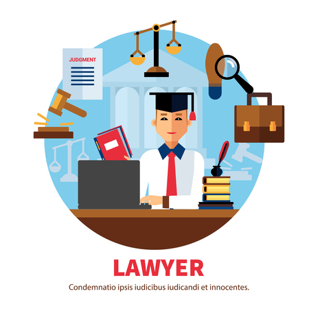 solicitor: Lawyer  jurist legal expert poster with icons of professional subjects on white background vector illustration