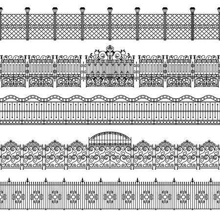 puertas de hierro: Vallas negro patrón de la frontera Blanco conjunto con la ilustración vectorial aislado plana de metal forjado