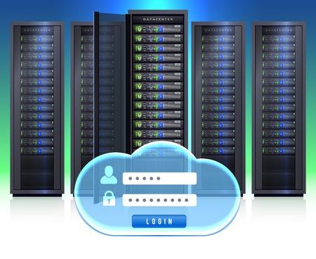 secure icon: Computer server black adjustable framework racks with cloud shaped secure login symbol icon realistic vector illustration Illustration