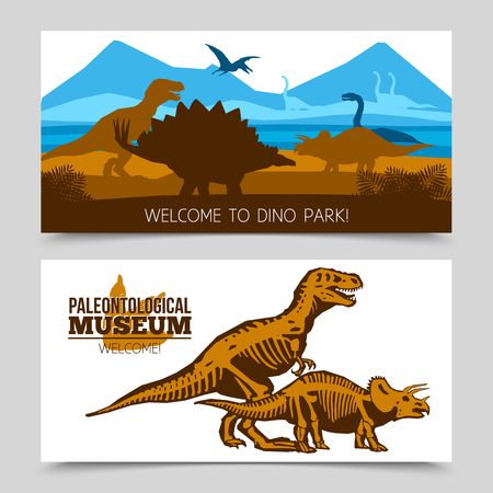 paleontological: Flat horizontal banners of dino park and paleontological museum with dinosaurs and its skeletons silhouettes vector illustration