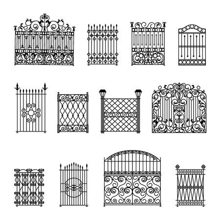 puertas de hierro: Decorativos cercas blancas conjunto negro con puertas aisladas plana ilustración vectorial