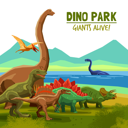 Different flying swimming and land dinosaurs with lake and mountains on background dino park cartoon poster vector illustration