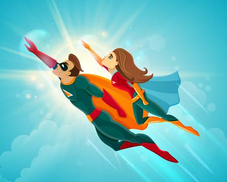 スーパー ヒーローのカップルの男と女の青空ベクトル図を一緒に飛んでいます。