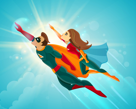 Super heroes couple man and woman flying together in blue sky vector illustration Иллюстрация