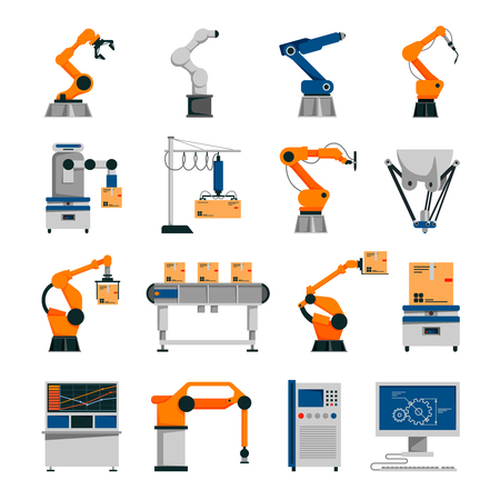 assembly line: Automation icons set with robot and conveyor symbols flat isolated vector illustration