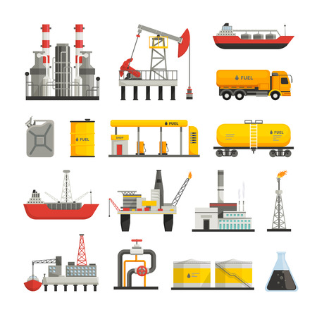 Different transports constructions and factories of oil petrol industry flat icons set isolated vector illustrations Illustration