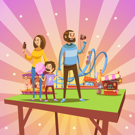 Amusement park cartoon concept with happy family and attractions on background retro vector illustration