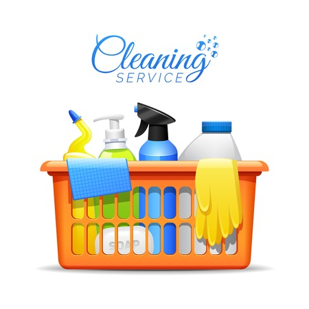 spay: Household cleaning products and accessories in basket realistic pictogram with detergent spay and rubber gloves abstract vector illustration Illustration