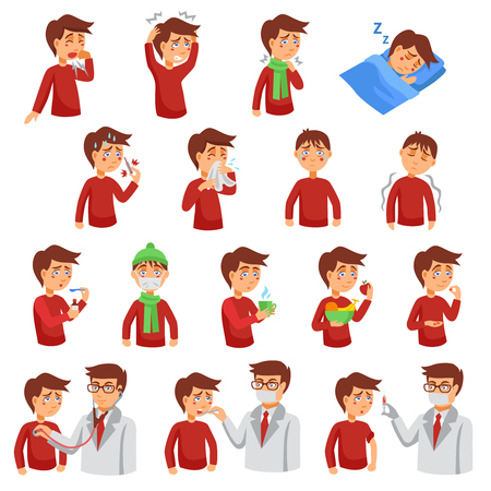 headaches: Flu illness cartoon icons with unhealthy people and doctors helping diseased patients flat vector illustration