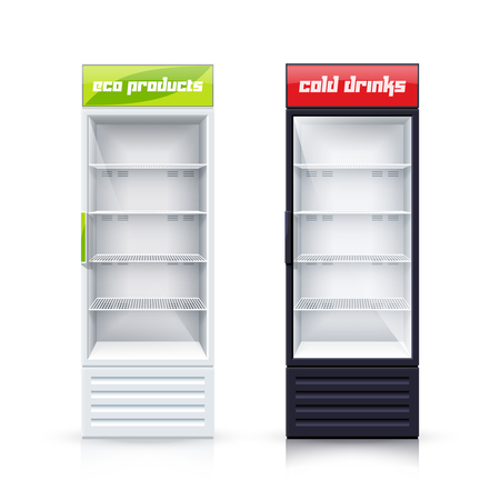 cooler boxes: Two empty vertical refrigerators with transparent front panels for cooling drinks and eco products realistic vector Illustration Illustration