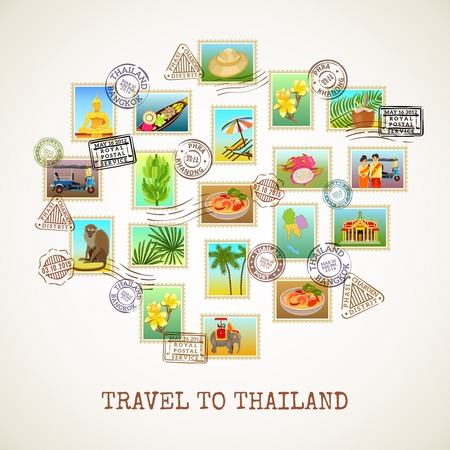 vector images: Thailand poster with images of postal stamps with sights flora and fauna of the country vector illustration Illustration
