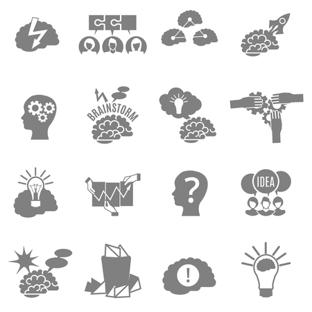 brainstorm: Set of flat monochrome brainstorm icons with brains lightbulbs ideas and other abstract elements isolated vector illustrarion