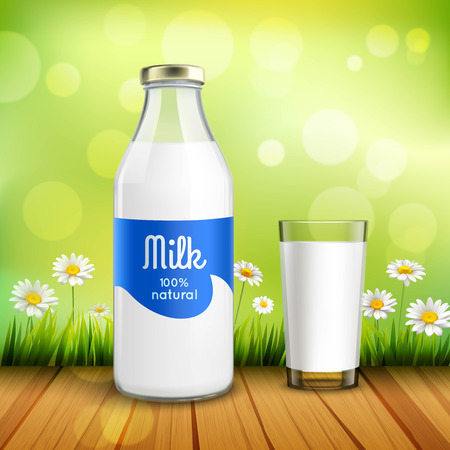 milkman: Closed bottle of natural milk with glossy cap and full glass of milk at green background with chamomiles vector illustration