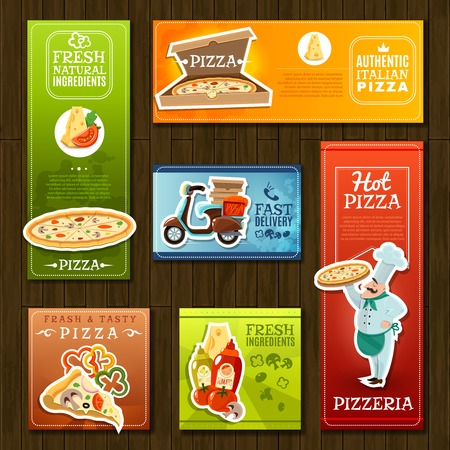 cook cartoon: Pizza cartoon banners set with pizzeria symbols on wooden background isolated vector illustration
