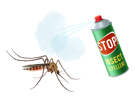 insect: Realistic mosquito with insect repellent spray in dengerous diseases prevention concept vector illustration
