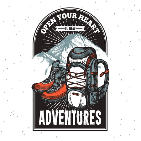 Adventure lettering emblem print of boots and backpack on mountain background with title hand drawn vector illustration