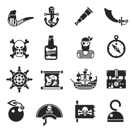 one eyed: Pirates black icons set with boarding saber projectile for gun hand hook bottle of rum isolated vector illustration Illustration