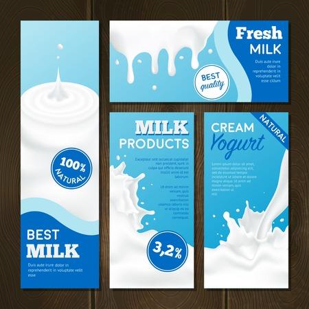 Productos lácteos banners realistas conjunto con salpicaduras sobre fondo de madera ilustración vectorial aislado Foto de archivo - 53864680