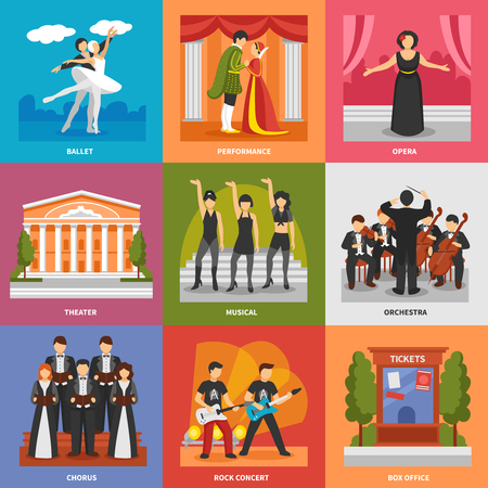 symphony orchestra: Theatre compositions 3x3 design concept with chorus musical rock concert opera ballet orchestra flat vector illustration