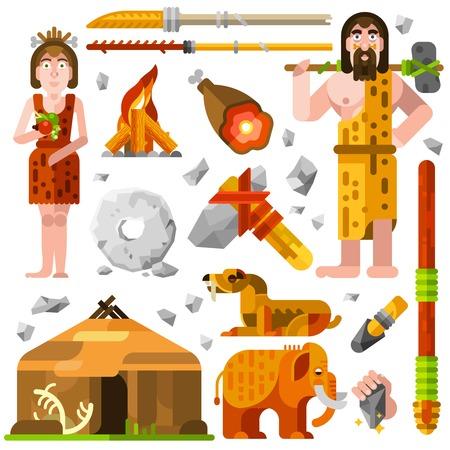 hombre prehistorico: piedra de dibujos animados edad iconos decorativos prehistóricos con la familia de las cavernas alimentos cabaña de fuego y armas de caza aislado ilustración vectorial