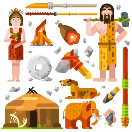 family human: Prehistoric stone age cartoon decorative icons with cavemen family fire hut food and weapon for hunting isolated vector illustration