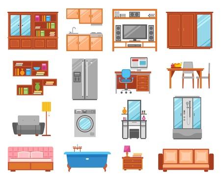 bedside: Set of different types of interior  furniture icons for room bathroom and kitchen vector illustration Illustration