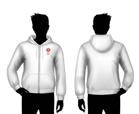 Male hooded sweatshirt realistic template with man body silhouettes in black and white colors isolated vector illustration Illustration